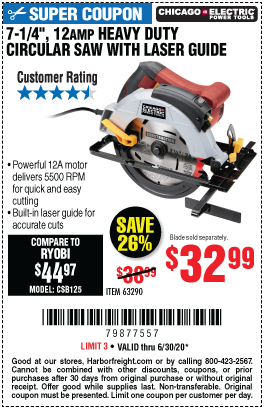 Harbor Freight Tools Coupons, Harbor Freight Coupon, HF Coupons-CHICAGO ELECTRIC 7-1/4 in. 12 Amp Heavy Duty Circular Saw With Laser Guide System for $32.99