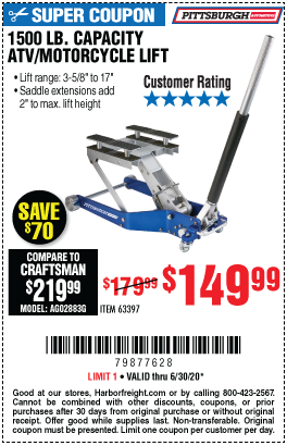Harbor Freight Tools Coupons, Harbor Freight Coupon, HF Coupons-PITTSBURGH AUTOMOTIVE 1500 lb. Capacity ATV / Motorcycle Lift for $149.99
