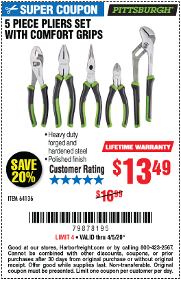 Harbor Freight Tools Coupons, Harbor Freight Coupon, HF Coupons-PITTSBURGH Pliers Set with Comfort Grips 5 Pc. for $13.49