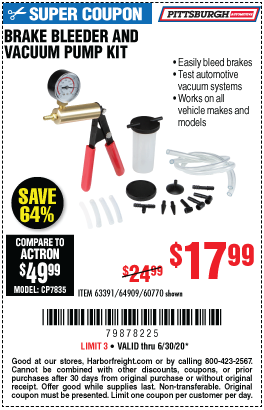Harbor Freight Tools Coupons, Harbor Freight Coupon, HF Coupons-PITTSBURGH AUTOMOTIVE Brake Bleeder and Vacuum Pump Kit for $17.99