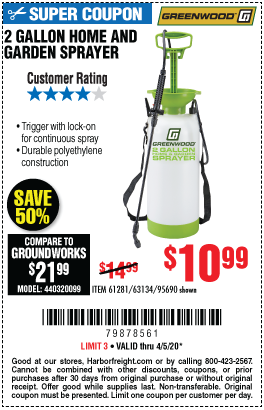 Harbor Freight Tools Coupons, Harbor Freight Coupon, HF Coupons-GREENWOOD 2 gallon Home and Garden Sprayer for $10.99