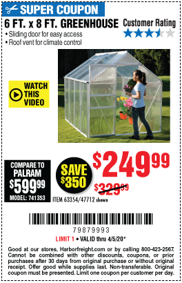 Harbor Freight Tools Coupons, Harbor Freight Coupon, HF Coupons-ONE STOP GARDENS 6 ft. x 8 ft. Greenhouse for $249.99