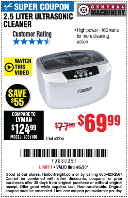 Harbor Freight Tools Coupons, Harbor Freight Coupon, HF Coupons-CENTRAL MACHINERY 2.5 Liter Ultrasonic Cleaner for $69.99