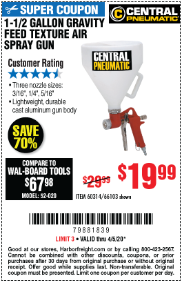 Harbor Freight Tools Coupons, Harbor Freight Coupon, HF Coupons-CENTRAL PNEUMATIC 1-1/2 gallon Gravity Feed Texture Air Spray Gun for $19.99