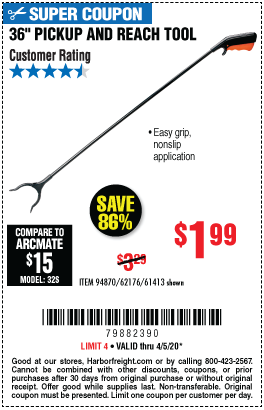 Harbor Freight Tools Coupons, Harbor Freight Coupon, HF Coupons-36 in. Pickup and Reach Tool for $1.99