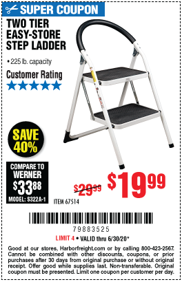 Harbor Freight Tools Coupons, Harbor Freight Coupon, HF Coupons-Two Tier Easy-Store Step Ladder for $19.99