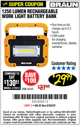 Harbor Freight Tools Coupons, Harbor Freight Coupon, HF Coupons-BRAUN 1250 Lumen Work Light Battery Bank for $29.99