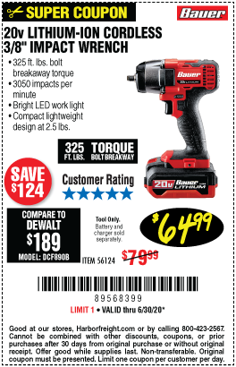 Harbor Freight Tools Coupons, Harbor Freight Coupon, HF Coupons-BAUER 20V Hypermax Lithium 3/8 in. Compact Impact Wrench for $64.99