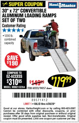 Harbor Freight Tools Coupons, Harbor Freight Coupon, HF Coupons-HAUL-MASTER 1200 lb. Capacity 30-1/4 in. x 72 in. Convertible Aluminum Loading Ramp for $119.99