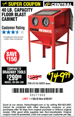 Harbor Freight Tools Coupons, Harbor Freight Coupon, HF Coupons-CENTRAL PNEUMATIC 40 Lb. Capacity Floor Blast Cabinet for $149.99