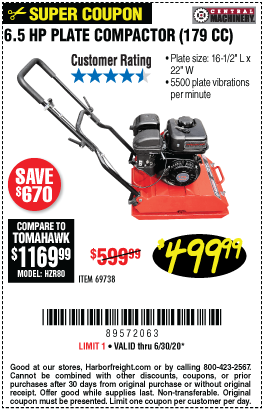 Harbor Freight Tools Coupons, Harbor Freight Coupon, HF Coupons-CENTRAL MACHINERY 6.5 HP Plate Compactor for $499.99