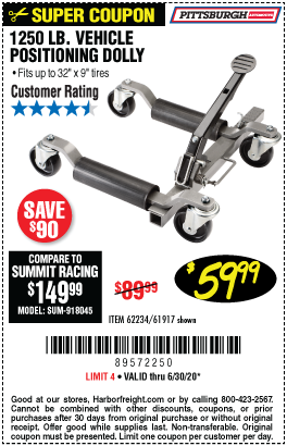 Harbor Freight Tools Coupons, Harbor Freight Coupon, HF Coupons-PITTSBURGH AUTOMOTIVE 1250 lb. Capacity Vehicle Positioning Wheel Dolly for $59.99