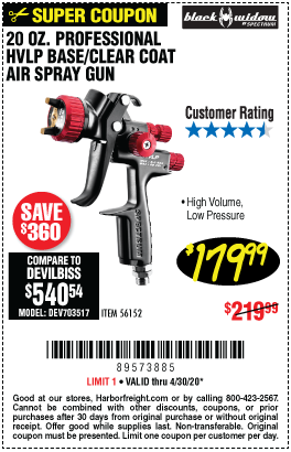 Harbor Freight Tools Coupons, Harbor Freight Coupon, HF Coupons-BLACK WIDOW 20 Oz. Professional HVLP Gravity Feed Air Spray Gun for $179.99