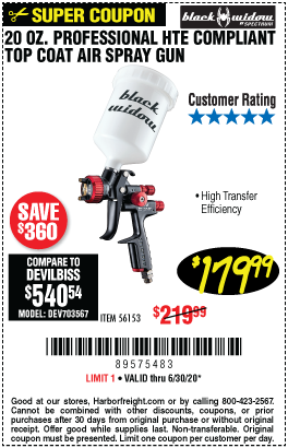 Harbor Freight Tools Coupons, Harbor Freight Coupon, HF Coupons-BLACK WIDOW 20 Oz. Professional HTE Compliant Gravity Feed Air Spray Gun for $179.99