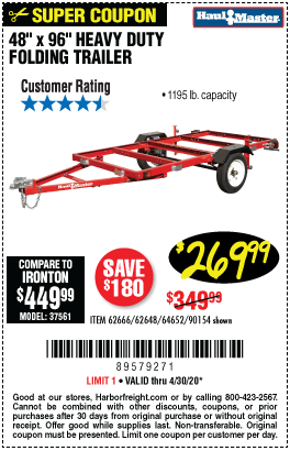 Harbor Freight Tools Coupons, Harbor Freight Coupon, HF Coupons-HAUL-MASTER 1195 Lb. Capacity 48 In. X 96 In. Heavy Duty Folding Trailer for $269.99