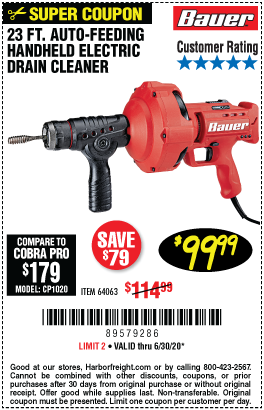 Harbor Freight Tools Coupons, Harbor Freight Coupon, HF Coupons-BAUER 23 Ft. Auto-Feed Handheld Electric Drain Cleaner for $99.99