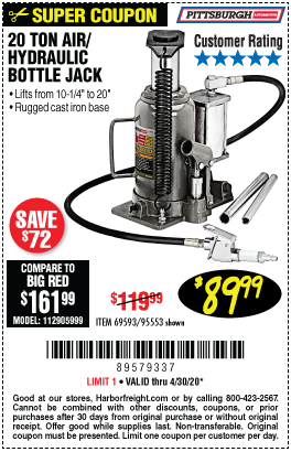 Harbor Freight Tools Coupons, Harbor Freight Coupon, HF Coupons-PITTSBURGH AUTOMOTIVE 20 ton Air Hydraulic Bottle Jack for $89.99