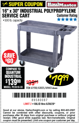 Harbor Freight Tools Coupons, Harbor Freight Coupon, HF Coupons-HAUL-MASTER 16 In. x 30 In. Industrial Polypropylene Service Cart for $79.99