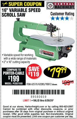Harbor Freight Tools Coupons, Harbor Freight Coupon, HF Coupons-CENTRAL MACHINERY 16 in. Variable Speed Scroll Saw for $79.99