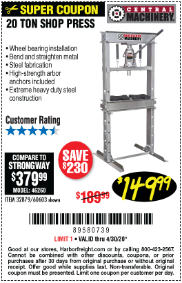 Harbor Freight Tools Coupons, Harbor Freight Coupon, HF Coupons-CENTRAL MACHINERY H-Frame Industrial Heavy Duty Floor Shop Press for $149.99