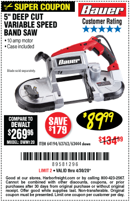 Harbor Freight Tools Coupons, Harbor Freight Coupon, HF Coupons-BAUER 10 Amp Deep Cut Variable Speed Band Saw Kit for $89.99