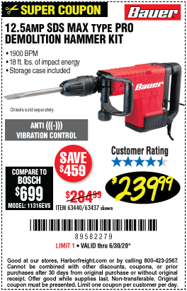 Harbor Freight Tools Coupons, Harbor Freight Coupon, HF Coupons-BAUER 12.5 Amp SDS Max Type Pro Demolition Hammer Kit for $239.99