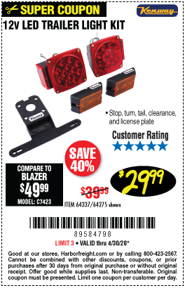 Harbor Freight Tools Coupons, Harbor Freight Coupon, HF Coupons-KENWAY 12 Volt LED Trailer Light Kit for $29.99