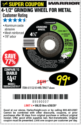 Harbor Freight Tools Coupons, Harbor Freight Coupon, HF Coupons-WARRIOR 4-1/2 in. 24 Grit Metal Grinding Wheel for $0.99