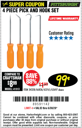 Harbor Freight Tools Coupons, Harbor Freight Coupon, HF Coupons-PITTSBURGH Mini Pick and Hook Set for $0.99