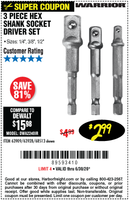 Harbor Freight Tools Coupons, Harbor Freight Coupon, HF Coupons-WARRIOR Hex Shank Socket Driver Set 3 Pc. for $2.99