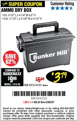 Harbor Freight Tools Coupons, Harbor Freight Coupon, HF Coupons-BUNKER HILL SECURITY Ammo Dry Box for $3.79