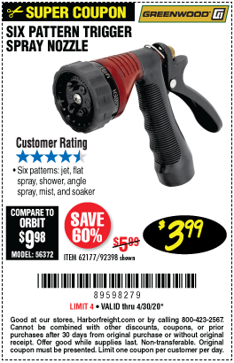 Harbor Freight Tools Coupons, Harbor Freight Coupon, HF Coupons-GREENWOOD Trigger Spray Nozzle for $3.99
