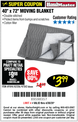Harbor Freight Tools Coupons, Harbor Freight Coupon, HF Coupons-HAUL-MASTER 40 in. x 72 in. Moving Blanket for $3.99