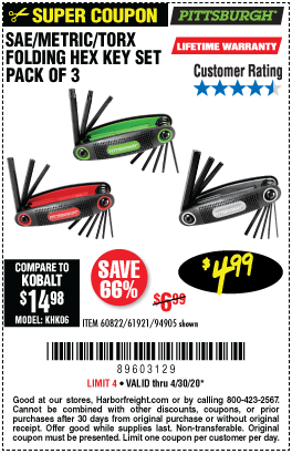 Harbor Freight Tools Coupons, Harbor Freight Coupon, HF Coupons-PITTSBURGH SAE/Metric/Torx Folding Hex Key Set 3 Pc. for $4.99