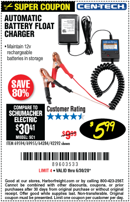 Harbor Freight Tools Coupons, Harbor Freight Coupon, HF Coupons-CEN-TECH Automatic Battery Float Charger for $5.99