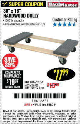 Harbor Freight Tools Coupons, Harbor Freight Coupon, HF Coupons-HAUL-MASTER 30 In x 18 In 1000 Lbs. Capacity Hardwood Dolly for $11.99