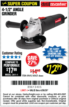Harbor Freight Tools Coupons, Harbor Freight Coupon, HF Coupons-DRILL MASTER 4-1/2 In. 4.3 Amp Angle Grinder for $12.99