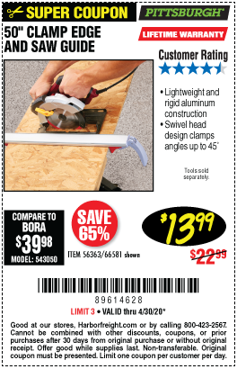 Harbor Freight Tools Coupons, Harbor Freight Coupon, HF Coupons-PITTSBURGH 50 In. Clamp Edge and Saw Guide for $13.99