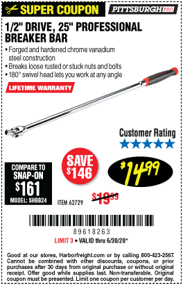 Harbor Freight Tools Coupons, Harbor Freight Coupon, HF Coupons-PITTSBURGH 1/2 in. Drive 25 in. Professional Breaker Bar for $14.99