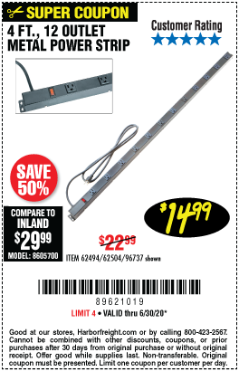 Harbor Freight Tools Coupons, Harbor Freight Coupon, HF Coupons-HFT 12 Outlet 4 ft. Metal Power Strip for $14.99