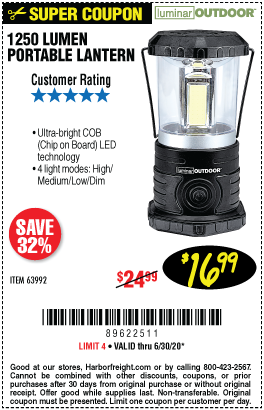 Harbor Freight Tools Coupons, Harbor Freight Coupon, HF Coupons-LUMINAR OUTDOOR 1250 Lumen Portable Lantern for $16.99