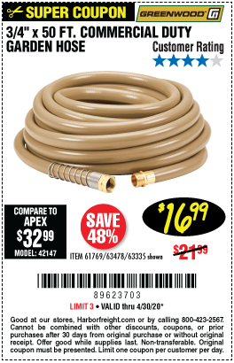 Harbor Freight Tools Coupons, Harbor Freight Coupon, HF Coupons-GREENWOOD 3/4 in. x 50 ft. Commercial Duty Garden Hose for $16.99