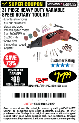 Harbor Freight Tools Coupons, Harbor Freight Coupon, HF Coupons-CHICAGO ELECTRIC Heavy Duty Variable Speed Rotary Tool Kit 31 Pc. for $17.99
