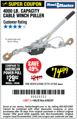 Harbor Freight Tools Coupons, Harbor Freight Coupon, HF Coupons-HAUL-MASTER 2 Ton Cable Winch Puller for $14.99