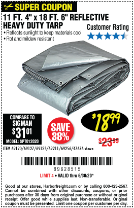 Harbor Freight Tools Coupons, Harbor Freight Coupon, HF Coupons-HFT 11 ft. 4 in. x 18 ft. 6 in. Silver/Heavy Duty Reflective All Purpose/Weather Resistant Tarp for $18.99