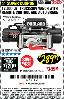 Harbor Freight Tools Coupons, Harbor Freight Coupon, HF Coupons-BADLAND 12000 Lbs. Off-Road Vehicle Electric Winch With Automatic Load-Holding Brake for $289.99