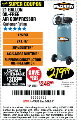Harbor Freight Tools Coupons, Harbor Freight Coupon, HF Coupons-MCGRAW 21 gallon 175 PSI Oil-Free Vertical Air Compressor for $219.99