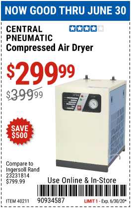 Harbor Freight Tools Coupons, Harbor Freight Coupon, HF Coupons-CENTRAL PNEUMATIC Compressed Air Dryer for $299.99