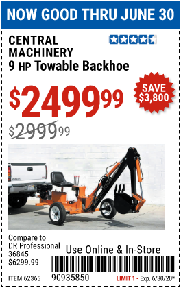 Harbor Freight Tools Coupons, Harbor Freight Coupon, HF Coupons-CENTRAL MACHINERY 9 HP Towable Backhoe for $2499.99