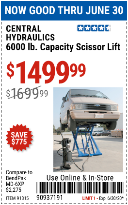 Harbor Freight Tools Coupons, Harbor Freight Coupon, HF Coupons-CENTRAL HYDRAULICS 6000 Lb. Capacity Scissor Lift for $1499.99
